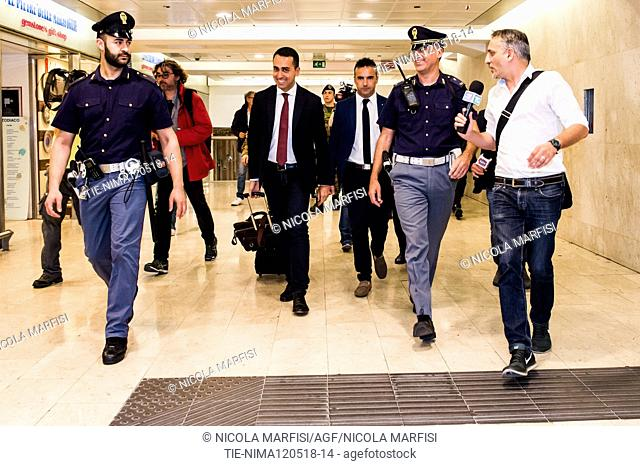 The leader of the Movimento 5 Stelle Luigi di Maio arrives in Milan where he will meet the Secretary of the Lega for the drafting of the Government program