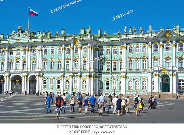 Tourist group, in front of Winter Palace, Palace Square, Saint Petersburg, Russia