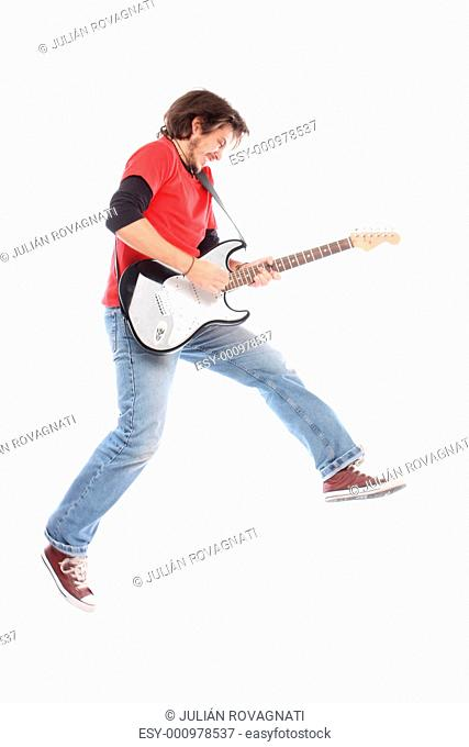 Guitar player flying