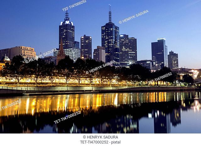 Cityscape with reflection in Yarra river
