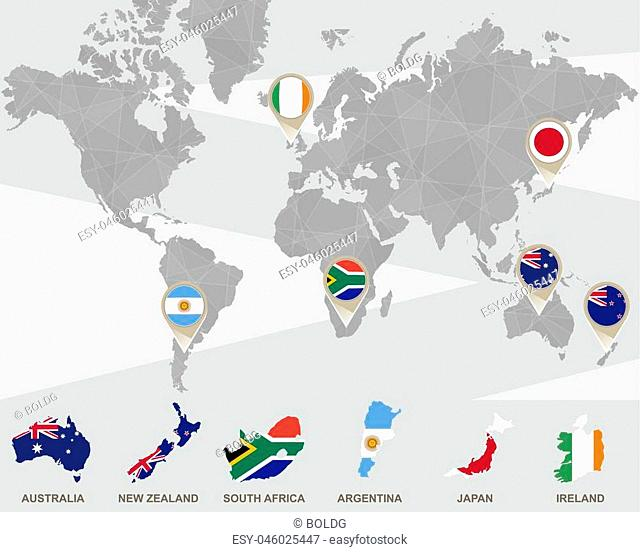 World map with Australia, New Zealand, South Africa, Argentina, Japan, Ireland pointers. Vector Illustration
