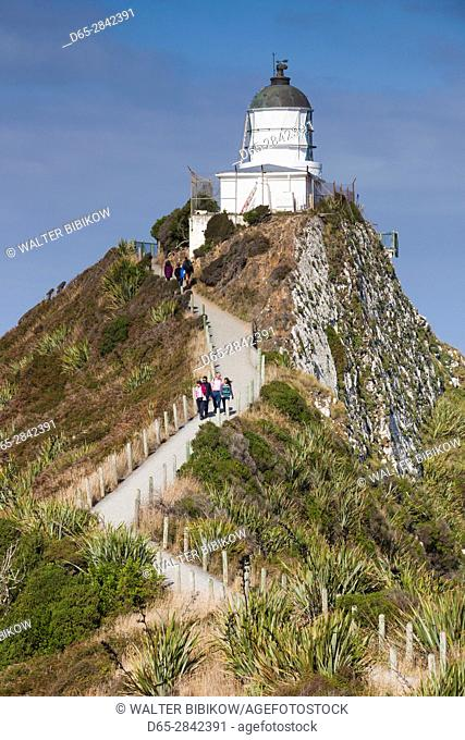 New Zealand, South Island, Southland, The Catlins, Nugget Point, Nuggett Point LIghthouse, elevated view
