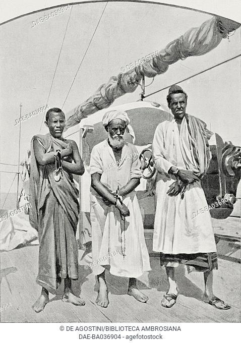 Heads of pirates captured on Medi island, Red Sea, on board the ship Caprera, drawing by Riccardo Salvadori, from L'Illustrazione Italiana, Year XXX, No 1