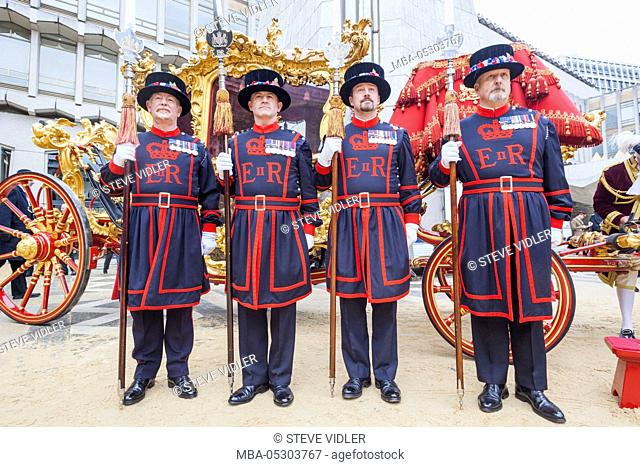 England, London, The Lord Mayor's Show, Guildhall, Beefeaters and Lord Mayor's State Coach