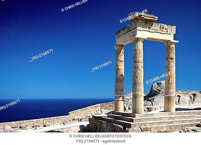 Classical Greek Athena Temple (200 BC) Lindos Rhodes Greece
