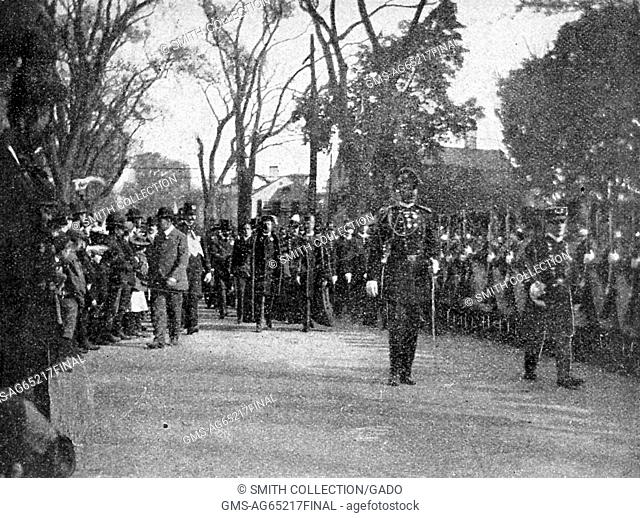 President Theodore Roosevelt and Yale President Arthur Twining Hadley leading the university's bicentennial procession, New Haven, Connecticut, October 20, 1901