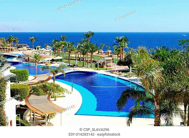 The beach and swimming pool at luxury hotel, Sharm el Sheikh, Egypt