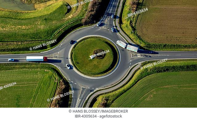Roundabout with four exits, traffic, green center, Übach-Palenberg, Rhineland, North Rhine-Westphalia, Germany