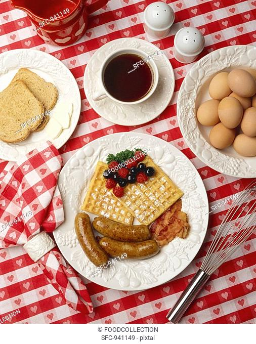 Breakfast Waffles with Sausage and Bacon, Toast and Coffee, Eggs