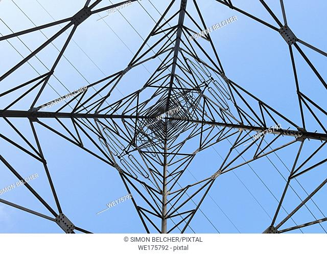 Electricity Pylon low angle view from below