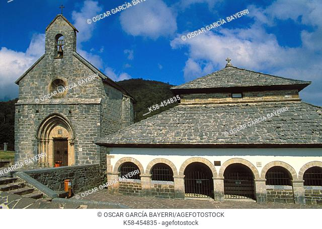 Sancti Spiritus chapel or Silo de Carlomagno and Iglesia de Santiago. Roncesvalles-Orreaga. Navarra. Spain