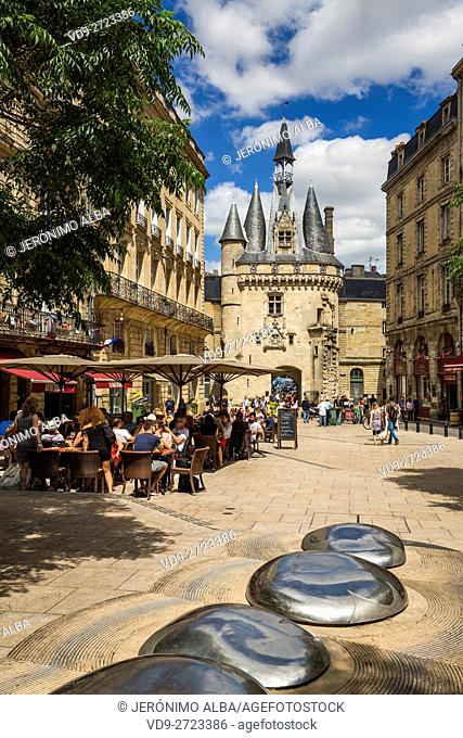 Unesco World Heritage Site. Porte Cailhau, a door in the walls of the old Bordeaux, Gironde. Aquitaine France Europe