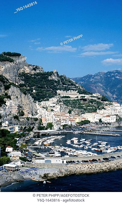 Harbour of Amalfi on the Adriatic Coast of Italy