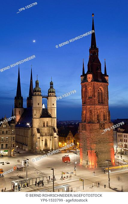 Marienkirche (St. Mary's Church) and Red Tower, illuminated at night, Halle, Germany