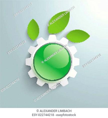 Green Technology Gear Leaves Green Button PiAd