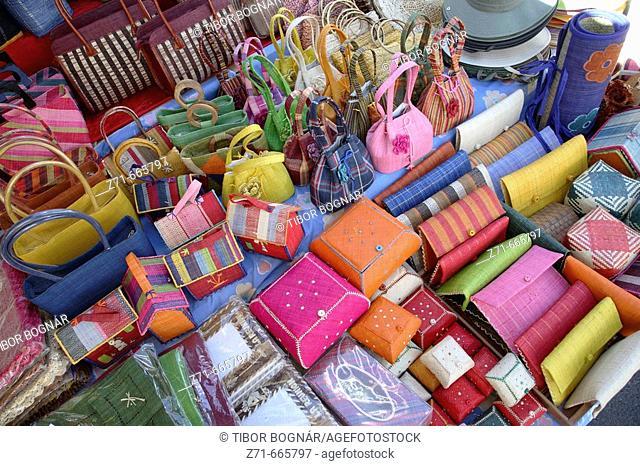 Reunion Island (Indian Ocean, France), St-Paul, market, handicraft