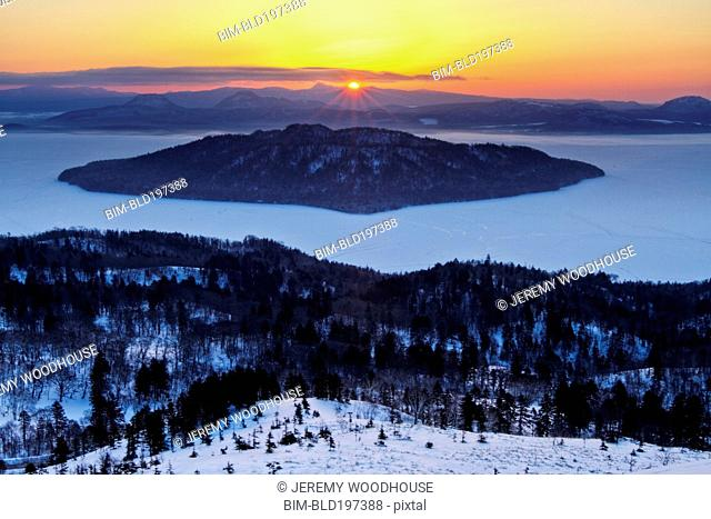 Bihoro Pass and Lake Kussharo in winter