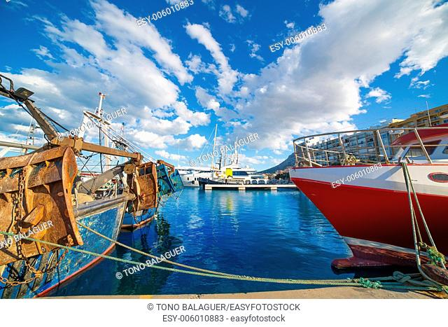 Denia Alicante port with blue summer sky in Spain at Valencian community