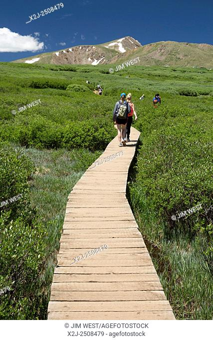 Georgetown, Colorado - People hike the trail from Guanella Pass to 14,060-foot Mt. Bierstadt in the Mt. Evans Wilderness Area