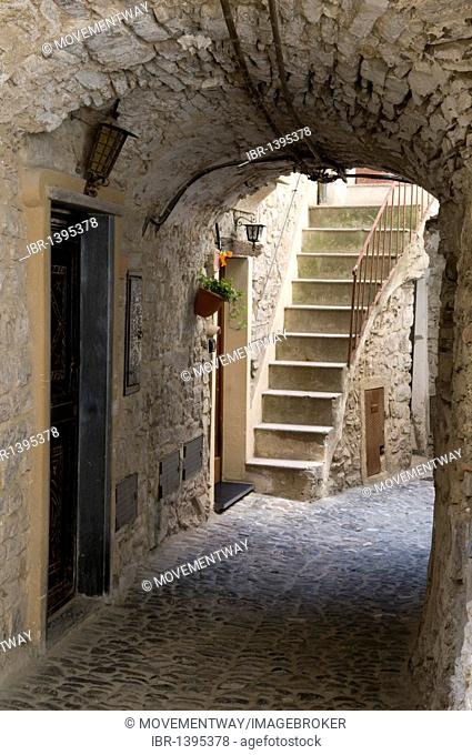 Alleyway in the historic town, mountain village of Apricale, Riviera, Liguria, Italy, Europe