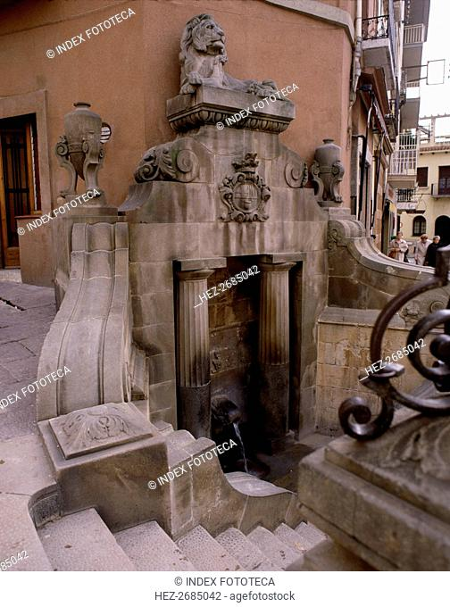 Detail of the 'Lion Fountain', hot spring in the center of the town of Caldes de Montbui