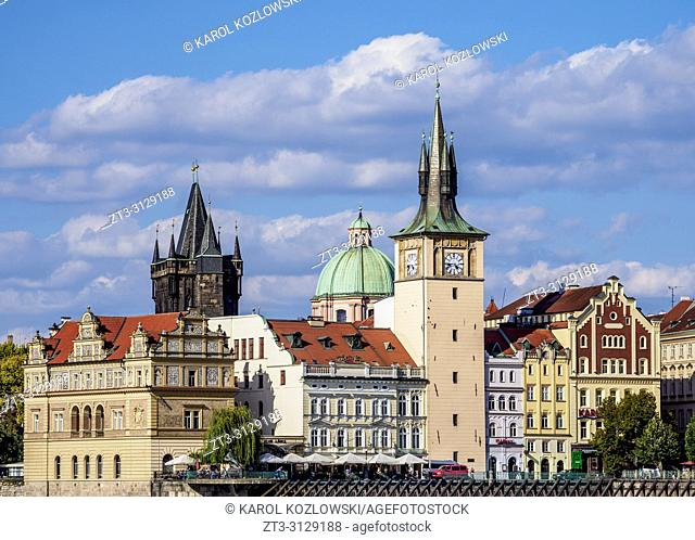 View towards Old Town Water Tower, Prague, Bohemia Region, Czech Republic