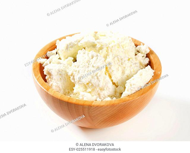 Bowl of white crumbly cheese