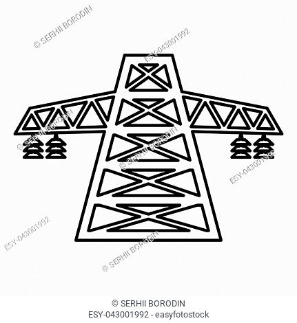 Electric pole post high voltage set line icon black color vector illustration flat style simple image