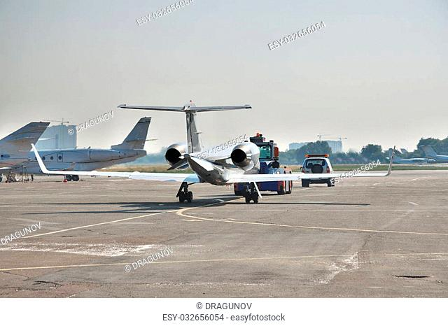Business jet preparing to start the engines for the takeoff