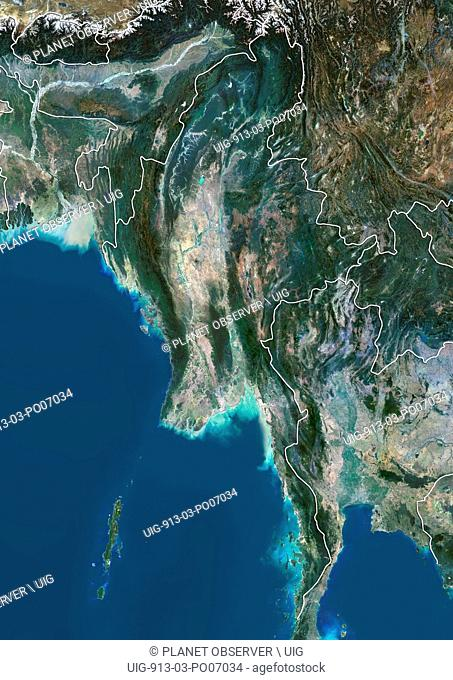 Satellite view of Myanmar (with country boundaries). This image was compiled from data acquired by Landsat 8 satellite in 2014