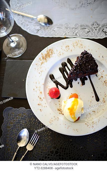 Chocolate dessert at A Raposa restaurant in Sintra, Portugal