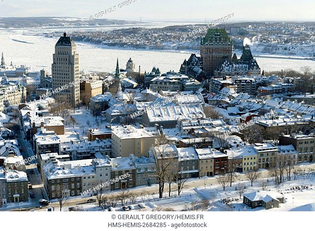 Canada, Quebec, Quebec City, Upper Town in Old Quebec listed as World Heritage by UNESCO, on left Price building, on right Château Frontenac