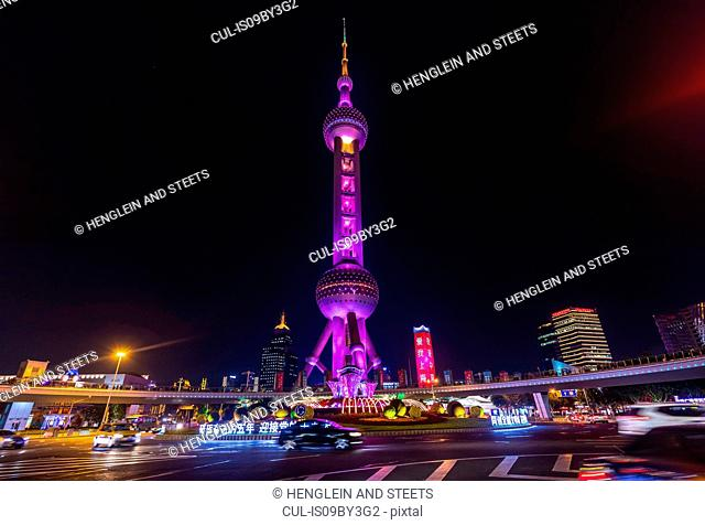 Pudong skyline with Oriental Pearl Tower at night, Shanghai, China