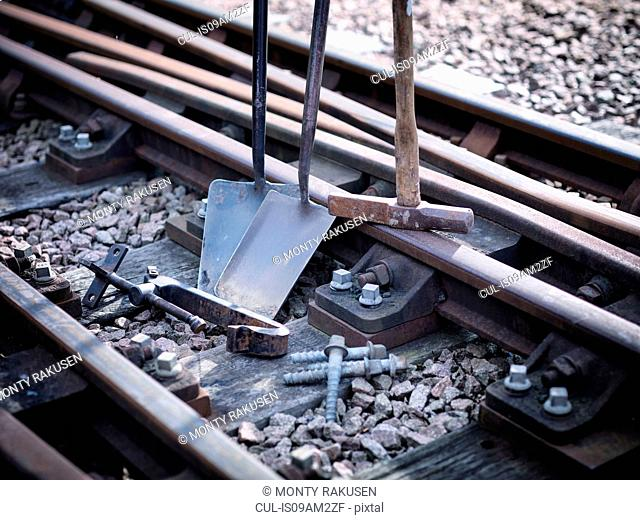 Close up of railway tools and track