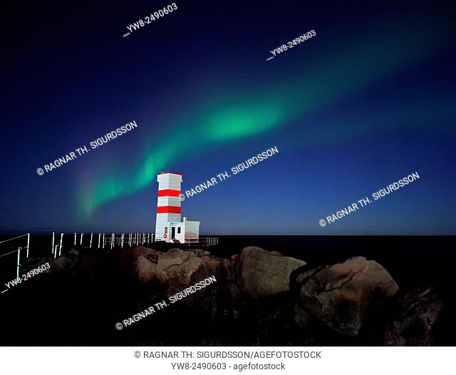 Northern Lights over Gardskagaviti Lighthouse, Reykjanes Peninsula, Iceland