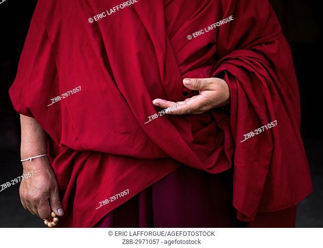 Tibetan buddhist nun in Labrang nunnery, Gansu province, Labrang, China