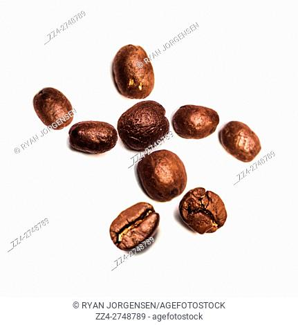 Human figure made of roasted coffee beans on white background. Bean Barista