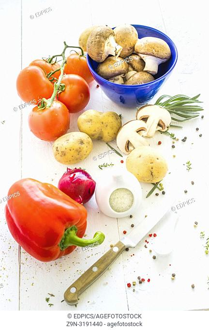vegetables on white wooden background, stuttgart, baden-wuerttemberg, germany