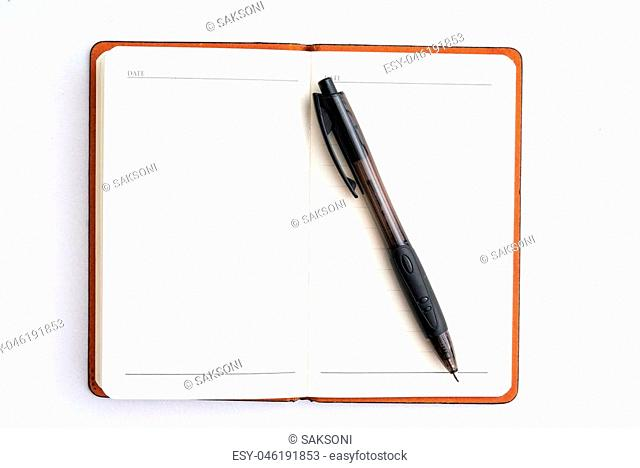 notepad with black pen isolated on white