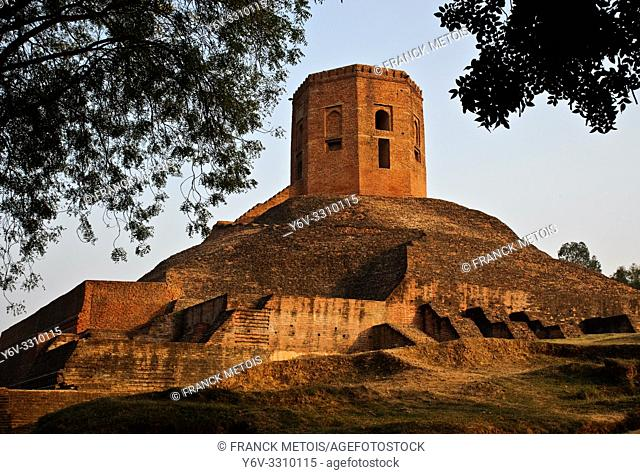 Chaukhandi stupa ( Sarnath, India). The stupa has been built ( between the 4° and 6° century) at the place where Buddha met his first five disciples after...
