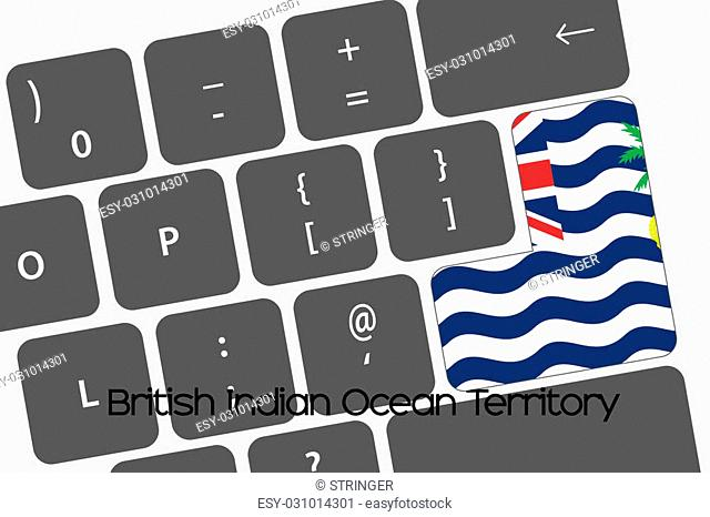 A Illustration of a Keyboard with the Enter button being the Flag of British Indian Ocean Territory