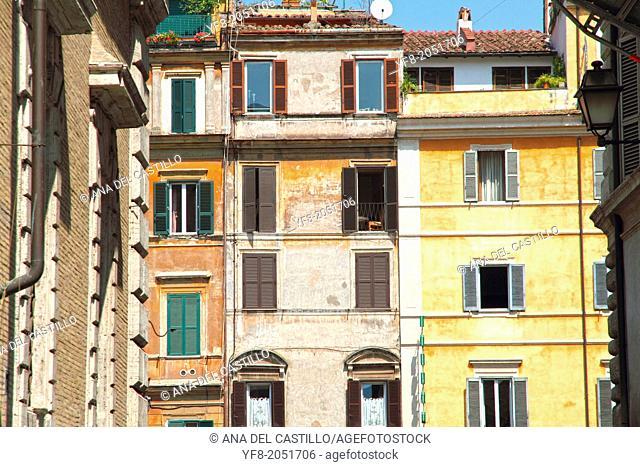 Trastevere quarter facades Rome Italy