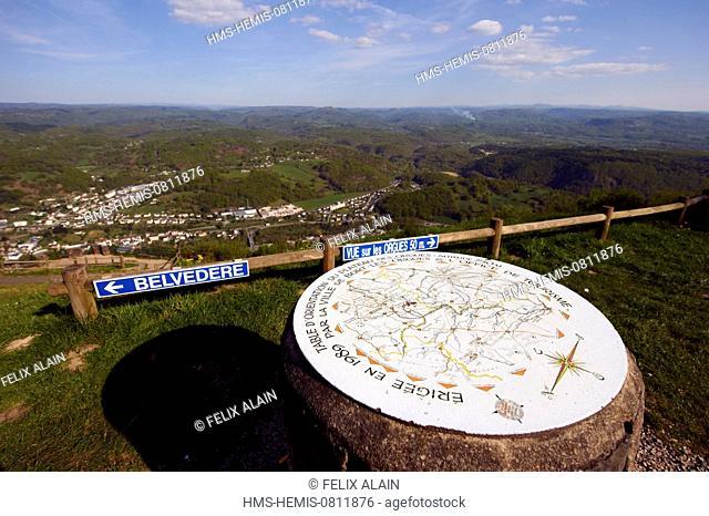 France, Correze, Bort les Orgues, orientation table in Plateau des Orgues