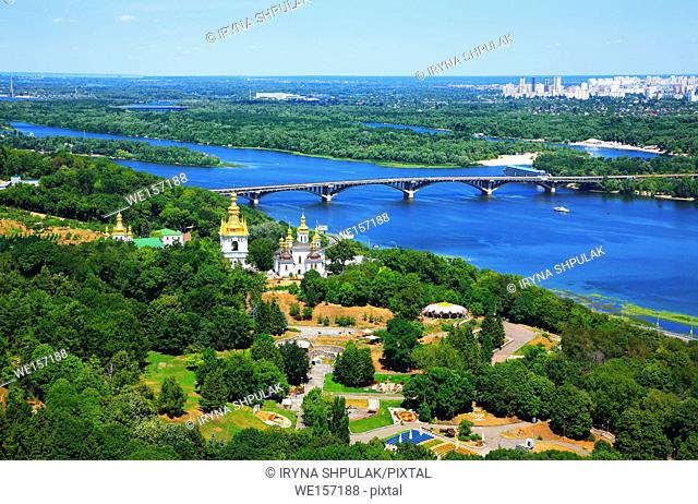 Panoramic view of Kiev with Monastery of the Caves and River Dnerp, Ukraine