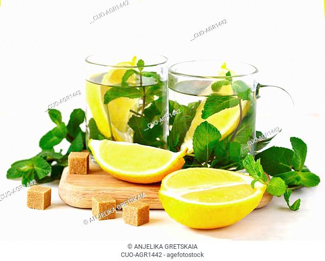 Two Cups of Mint tea on white background