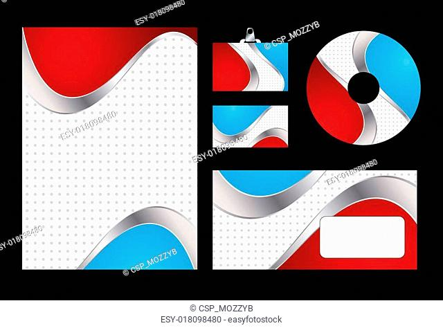 Vector illustration of red and blue corporate identity. Letterhead, business card, compact disc and postcard with abstract red and blue background