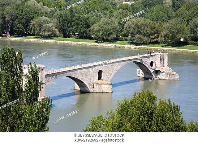pont saint benezet and rhone river, avignon, provence, france, europe