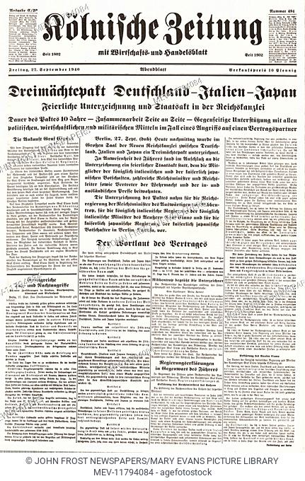 1940 Kolnischer Zeitung front page (Germany) Germany, Italy and Japan signed the Tripartite Pact