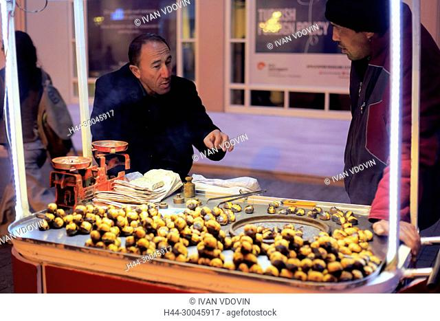 Seller of fried chestnuts, Istiklal Street, Independence Avenue, Istanbul, Turkey