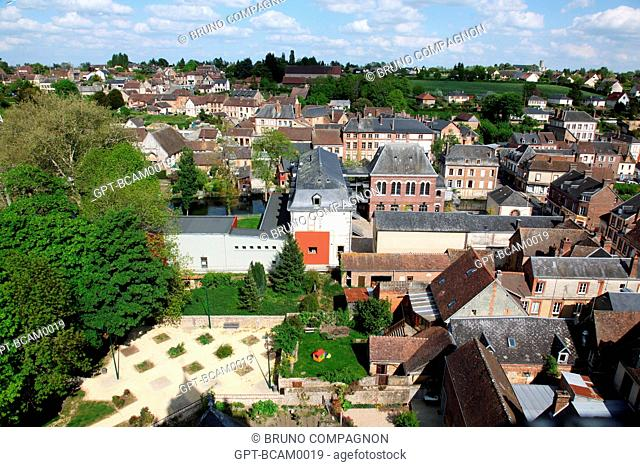 AERIAL VIEW OF THE SMALL CITY OF RUGLES, EURE 27, UPPER NORMANDY, FRANCE, EUROPE